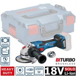 Аккум. углошлифмашина BOSCH GWS 18V-15 C L-BOXX SOLO (18.0 В, диск 125х22.0 мм,аналог 1500 Вт сетевой машины, BiTurbo EC-Motor,Bluetooth Low Energy,без аккумуляторов  и зарядного устройства) - фото 193741