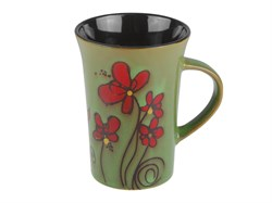 Кружка керамическая, 380 мл, цветы, зеленая, PERFECTO LINEA (Супер цена!) (30-845914)