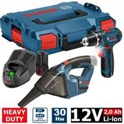 Шуруповерт Bosch GSR 12V-15 + пылесос Bosch GAS 12V в L-Boxx (12.0 В, 2 аккумулятора, 2.0 А/ч Li-Ion, 2 скор., 30 Нм, шурупы до 7 мм)