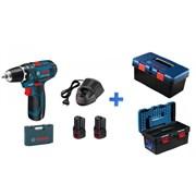 BOSCH GSR 12V-15 в чемодане + ящик  для инструментов ToolBox Pro (12.0 В, 2 аккумулятора, 2.0 А/ч Li-Ion, 2 скор., 30 Нм, шурупы до 7 мм)