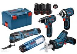 BOSCH Набор 5 инструментов в L-Boxx 238 (3*2.0Ah)GOP 12V-28+GSR 12V-15+GDR 12V-105+GLI 12V+GSA 12V