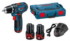 BOSCH GSR 12 V-15 Шуруповерт аккумуляторный в чемодане L-Boxx, 2 аккумулятора повышенной мощности 2 Ah (ранее модель называлась GSR 10,8-2-LI) [0601868109]