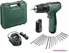 Шуруповерт аккумуляторный ударный  BOSCH EasyImpact 1200 (2*1.5 Ah + 5 бит + 14 сверл) момент 30Нм, 0-400/1500 об/ - Копия