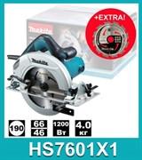 Циркулярная пила MAKITA HS 7601X1 в кор. (1200 Вт, 190х30 мм, до 67 мм) +дополнительный пильный диск