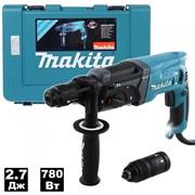 Перфоратор MAKITA HR 2470 FT в чем. (780 Вт, 2.7 Дж, 3 реж., патрон SDS-plus, быстросъемн., БЗП в комплекте, вес 2.8 кг) (HR2470FT)