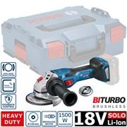Аккум. углошлифмашина BOSCH GWS 18V-15 C L-BOXX SOLO (18.0 В, диск 125х22.0 мм,аналог 1500 Вт сетевой машины, BiTurbo EC-Motor,Bluetooth Low Energy,без аккумуляторов  и зарядного устройства)