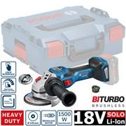 Аккум. углошлифмашина BOSCH GWS 18V-15 SC L-BOXX SOLO (18.0 В, диск 125х22.0 мм,регулировка оборотов, аналог 1500 Вт сетевой машины, BiTurbo EC-Motor,Bluetooth Low Energy,без аккумуляторов  и зарядного устройства)