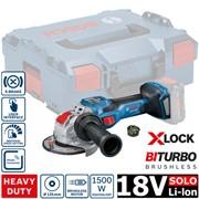 Аккум. углошлифмашина BOSCH GWX 18V-15 SC X-LOCK SOLO  в L-BOXX(18.0 В, диск 125х22.0 мм,регулировка оборотов, аналог 1500 Вт сетевой машины, BiTurbo EC-Motor,Bluetooth Low Energy,без аккумуляторов  и зарядного устройства)