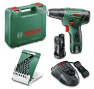 Bosch Двухскоростные дрели-шуруповёрты c литий-ионными аккумуляторами PSR 10,8 LI-2 АКЦИЯ!!! второй аккумулятор + набор сверл по дереву из 8 штук 0603972907