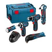 Bosch Аккумуляторная дрель-шуруповёрт GSR 10,8-2-LI + Мультишлифовальная машина GOP 10.8 V-Li  + угловой шуруповерт GWI 10.8 V-Li + ударный гайковерт GDR 10.8 V-Li АКЦИЯ!!! в чемодане L-BOXX 0615990cl2
